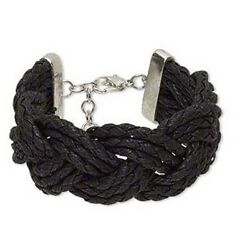 Black Bracelet Multi-Strand Waxed Cotton and Silver-Finished Copper and Steel