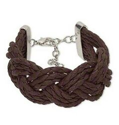 Brown Braided Bracelet Multi-Strand Waxed Cotton and Silver-Finished
