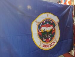 RARE ANTIQUE IN ORIGINAL BOX 1957 2ND OFFICIAL MINNESOTA STATE 4#x27;x6#x27; COTTON FLAG $37.34