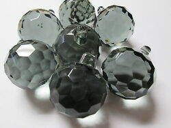 ONE Vintage Antique Smoke Gray Faceted Crystal Prism Chandelier Ball 1 3 4quot; $24.95