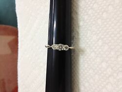 14K WG  ESTATE 3 STONE DIAMOND .50TCW LADIES ENGAGEMENT RING NR