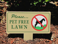 Pet Free Lawn Sign Curb Your Pet No Dog Poop No Pee No Dog Pooping Sign $12.75
