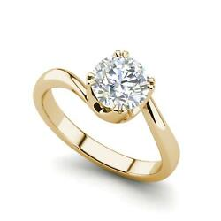 Twist Solitaire 2.25 Carat VS1F Round Cut Diamond Engagement Ring Yellow Gold