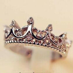 Women Jewelry Sterling Silver Princess Crown Tiara Ring Band Couple Ring Gift
