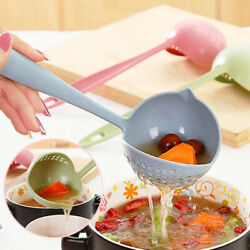 2 in 1 Long Handled Spoon Soup Tableware Dinnerware Cooking Kitchen Gadgets Tool