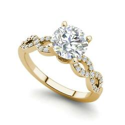 Infinity Pave 3.35 Carat VS1H Round Cut Diamond Engagement Ring Yellow Gold