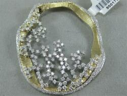MODERN ABSTRACT 2.87CTW DIAMOND 14KT GOLD STUDDED CLUSTER CIRCLE PENDANT #900172