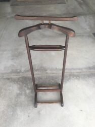 Vintage Mid Century Solid Wood Silent Butler Valet Stand W Tray Suit Coat