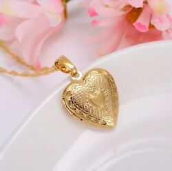 "24K Gold Plated Small Heart Locket Pendant Necklace Photo Picture 20"" N7 $16.99"