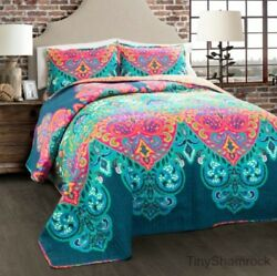 Queen Size Bedding Boho Chic Quilt Set Bold Moroccan Style Pink Blue Turquoise
