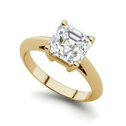 Solitaire 3 Carat VS2D Cushion Cut Diamond Engagement Ring Yellow Gold