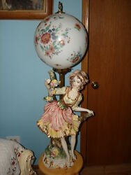 VINTAGE UNIQUE ITALY GIRL WOMAN ELECTRIC GLOBE BALL TABLE DESK LAMPS 38