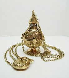 TRADITIONAL BRASS TRIPLE CHAIN CHURCH 8quot; CENSER THURIBLE 269 CHURCH INCENSE $479.00