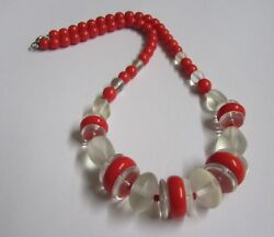 Chunky Vintage 18 Inch Cherry Red & Frosted Clear Glass Bead Necklace Over 60gms