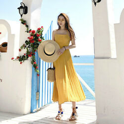 Lady Chiffon Spaghetti Dress Pleated Backless Lace Up Plus Dresses Beach Travel $35.92