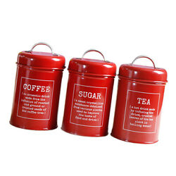 Canister Set 3 Piece Red Sugar Coffee Tea Biscuits Dry Food Kitchen Bins Tin $28.74
