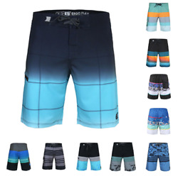 Men's Beach Vacation Fast Dry Zip Pocket Swimwear Board Shorts With Stretch $13.29