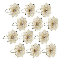 12pcs Floral Alloy Rings Napkin Holder Dinner Wedding Towel Ring Party Table