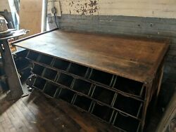 1940s Hardware Store Nut And Bolt Bin Counter Bar Kitchen Primitive Industrial