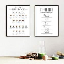 Coffee Art Kitchen Canvas Painting Decor Coffee Guide Modern Wall Print Decor $11.32