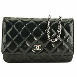Chanel Navy Blue Patent Quilted Leather Wallet On Chain WOC Bag (7000251)