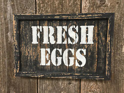 FRESH EGGS Sign Farmhouse Country Kitchen Cabin Decor Rustic Wood Wall Art 11x7quot; $16.99