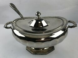 Lovely Antique Silverplated Soup Tureen MERIDEN  B CO w 1847 Rogers Ladle