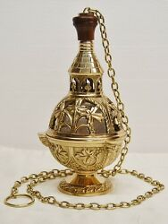 TRADITIONAL BRASS SINGLE CHAIN CHURCH 8quot; CENSER THURIBLE 269 CHURCH INCENSE $452.00
