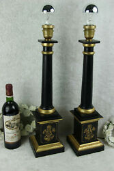Pair vintage Wood carved empire style 1970 French table desk lamps $612.50