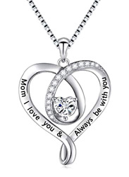 Sterling Silver Mom I Love You and Always Be With You Heart Pendant Necklace New