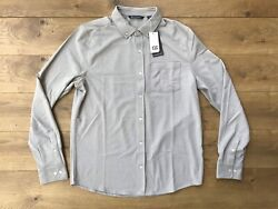 Cutter & Buck Reach Oxford Button Front Polished Grey Mens SZ L ( MCK00157 ) NWT