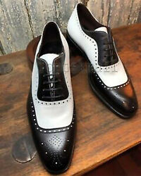 Handmade Men#x27;s Leather Oxfords Brogues Party Wear Black White Dress Shoes 754