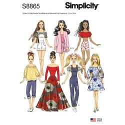 Simplicity 8865 Pattern New Barbie Doll 7 Outfits Dresses Pants  Halter Shorts
