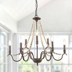 LNC Wood Beads 9 Light French Country Chandeliers for Living Room $404.99