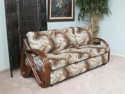 Made in USA Contract Quality Rattan Queen Sofa Sleeper Bed (#1797AW-MS)