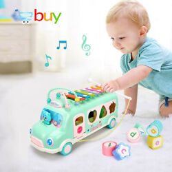 Baby Electric School Bus Music Car with Percussion Piano Matching Blocks Transfe