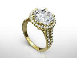 PRESENT 3.50 CT F VS1 ROUND HALO DIAMOND LADIES 18 KARAT YELLOW GOLD RING NIB