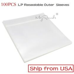 100 Resealable Plastic Vinyl Record Outer Sleeves for 12'' LP Gatefold 2LP