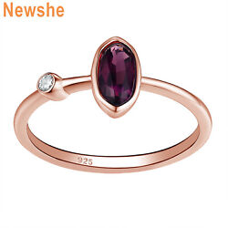 Newshe Gemstone Ring Oval Purple Amethyst 925 Sterling Silver Rose Gold Cz 5-10