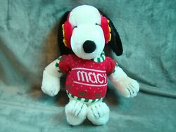 NWT Vtg 1972 Peanuts Snoopy Macys Sweater Christmas Woodstock Ear Muffs