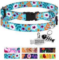 Floral Cat Collar Breakaway Personalized Collars for Cats Pet Kitten with Bell $9.99