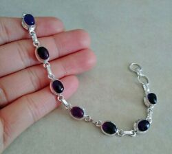 NATURAL OVAL PURPLE AMETHYST 925 STERLING SILVER LINK CHAIN BRACELET 7.5