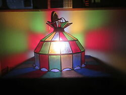 LEADED STAINED HANGING LIGHT 16 in. across by 13 in. high. multi colors $36.00