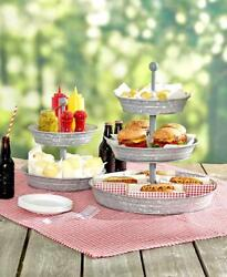 Galvanized Tiered Serving Tray & Caddy Set Rustic Primitive Country Kitchen
