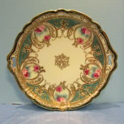 Antique Nippon Hand Painted with Handles Serving Plate Circa 1891 Gold Moriage!
