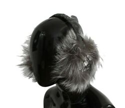 Dolce & Gabbana Gray Fox Fur Crystal Ear Women's Muffs