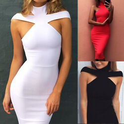 Women's Bandage Bodycon Sleeveless Evening Party Cocktail Club Short Mini Dress#