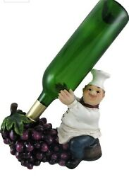 French chef kitchen Wine Butler and Grapes Tabletop Bottle Holder figurine $15.99