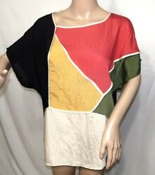 Millenium Women Plus Size 2x Patchwork Tunic Top Blouse Shirt Bohemian $29.84
