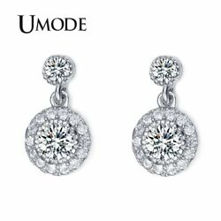 UMODE Rhodium Color Stud Earrings with Top Quality Cubic Zirconia Women Earri…